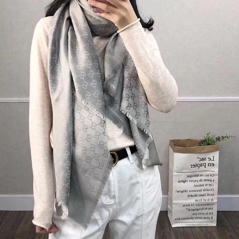 Gucci古驰男女经典款双面双色羊毛真丝情侣围巾披肩四季可用窄版