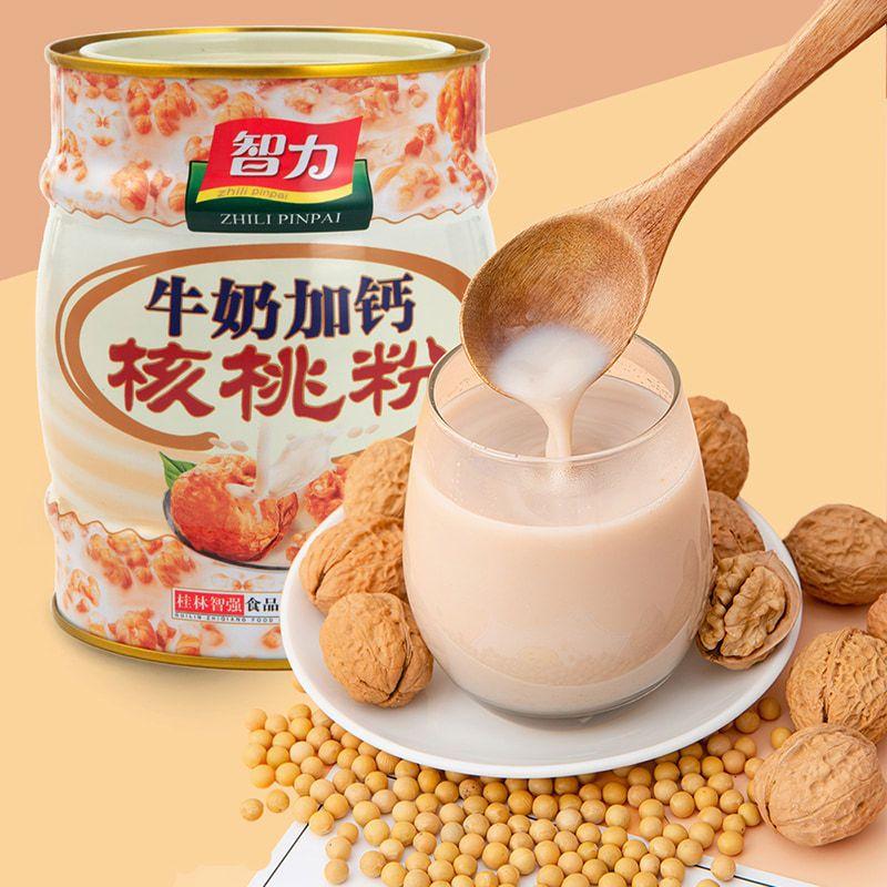 智力牛奶加钙核桃粉404g罐装营养补冲饮即食早餐脑健康代餐粉学生
