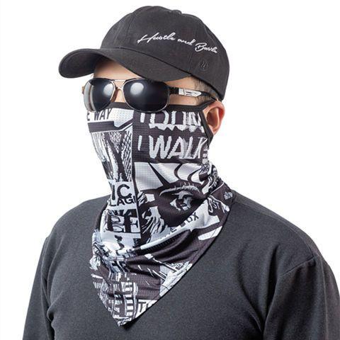 防晒面罩骑行装备骑手面巾冰丝紫外线围脖套夏季钓鱼挂耳头巾男女
