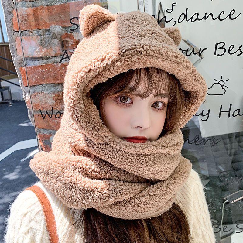 小熊帽子围巾一体金智妮Jennie同款秋冬季百搭骑车保暖护耳围脖女