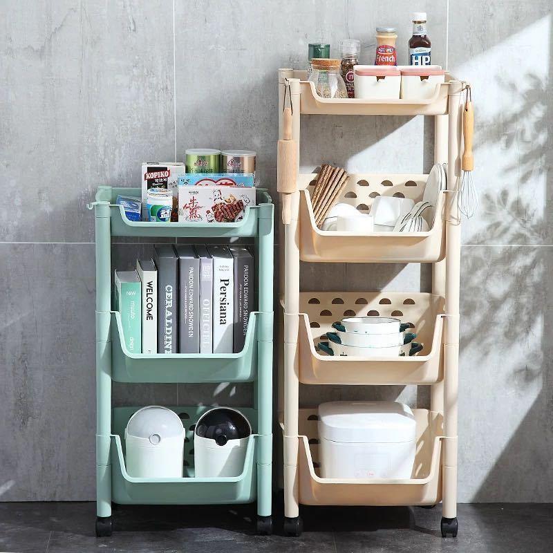 厨房置物架落地多层小推车蔬菜架置物架可移动厨房菜架收纳储物架