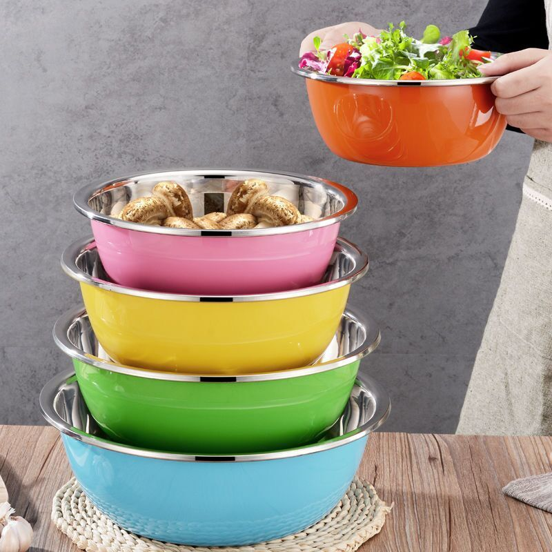 【5件套】不锈钢盆加厚加深彩色圆形盆子洗菜淘米装汤和面调料盆