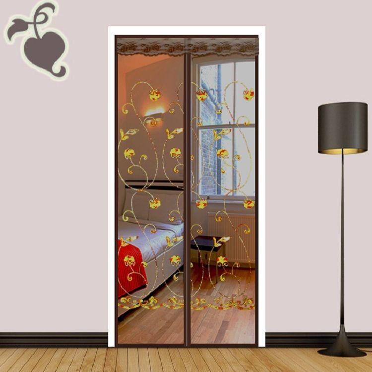 防蚊门帘魔术贴高档磁性自吸静音隔断帘卧室家用免打孔刺绣花纱门