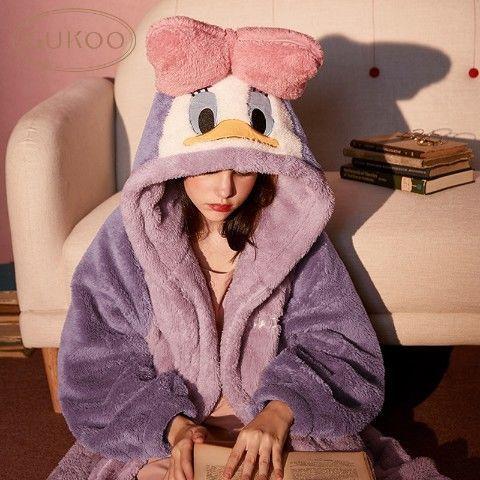 果壳迪士尼睡衣女秋冬珊瑚绒睡衣女睡袍法兰绒睡衣女冬季家居服