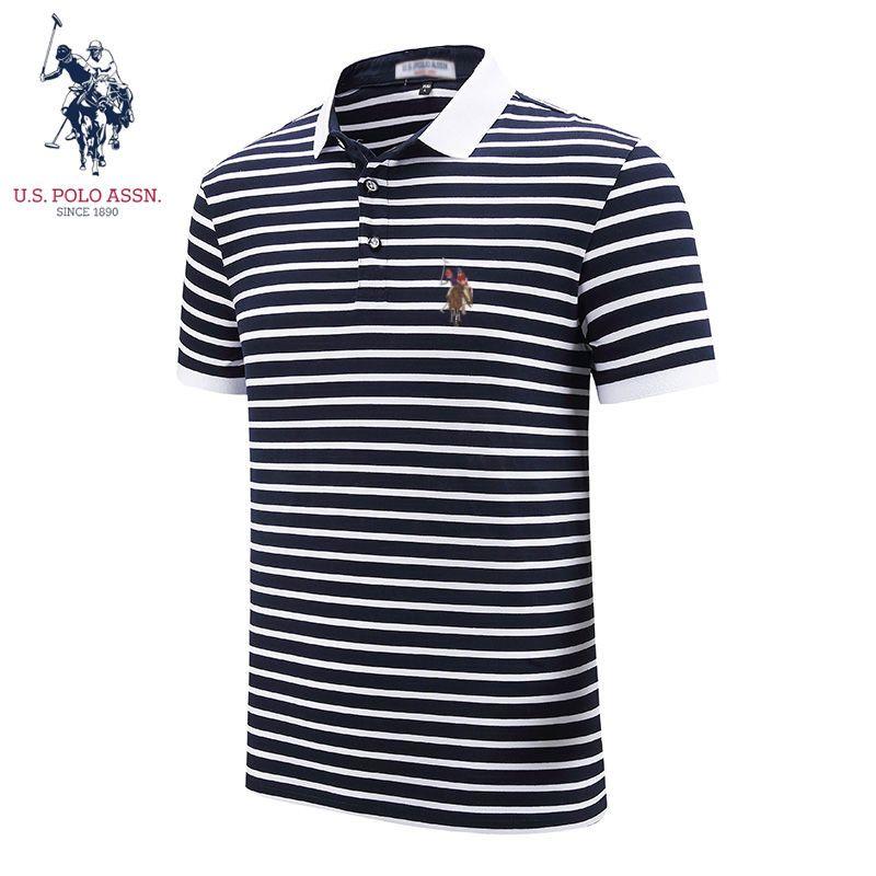 微弹吸湿,US POLO ASSN美国马球协会 夏新款纯棉条纹polo衫