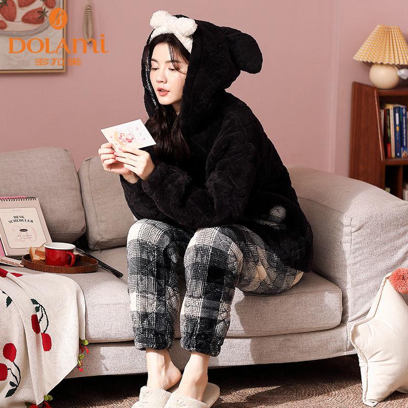 多拉美睡衣女冬加厚三层夹棉特厚加绒可爱保暖超厚珊瑚绒冬季套装