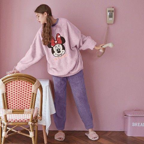 果壳冬季家居服珊瑚绒套装迪士尼