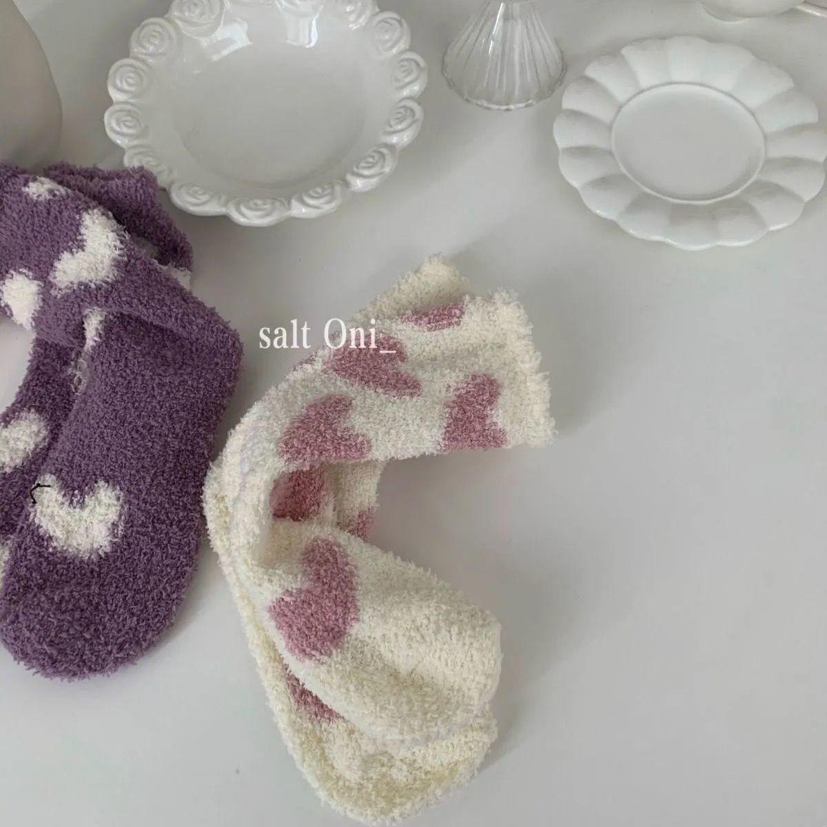 ins风少女心珊瑚绒袜子女秋冬加厚加绒保暖居家防滑地板袜月子袜