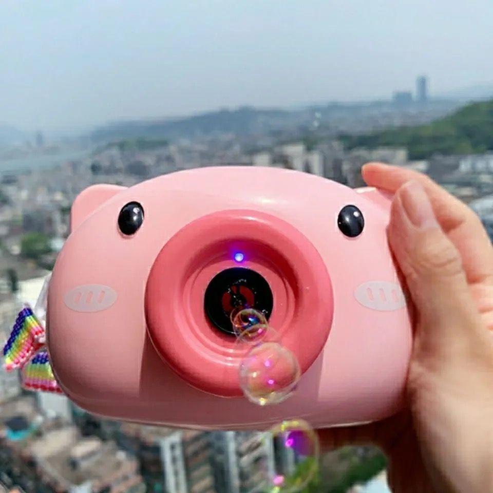 玩具批发女泡泡机网红抖音同款小猪泡泡相机吹泡泡全自动水补充液【3月15日发完】
