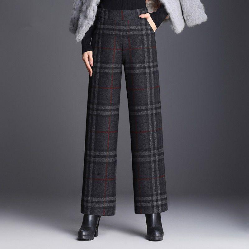 毛呢裤子女加厚高腰垂感2021春季新款百搭宽松大码九分直筒休闲裤
