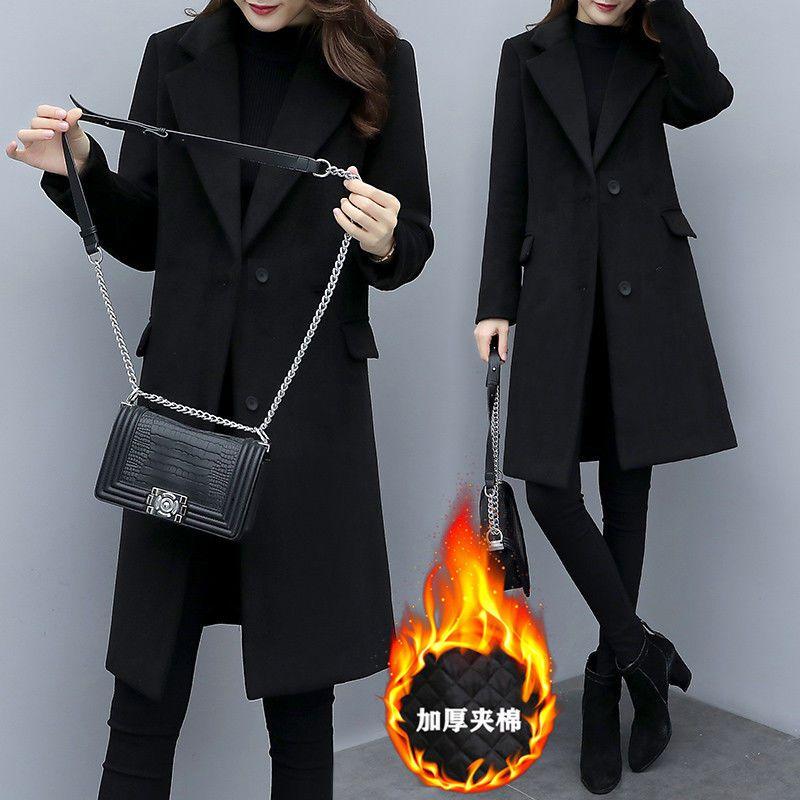 2020年新款韩版学院风呢子加厚毛呢外套