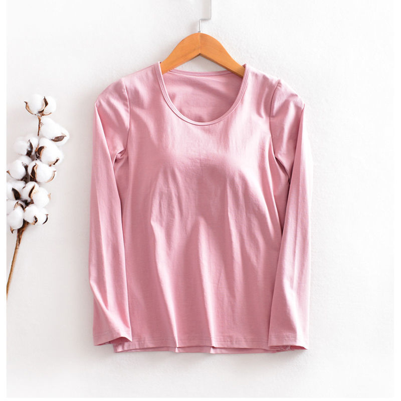 便宜的莫代尔带胸垫睡衣女秋冬长袖罩杯一体单件上衣打底衫秋衣家居内衣