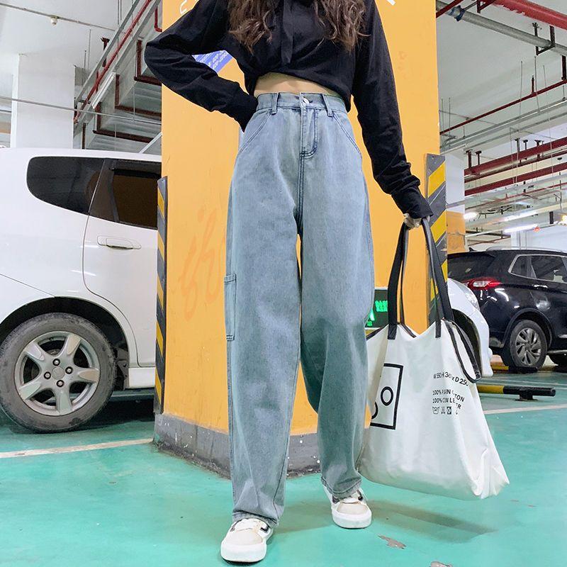 高腰牛仔裤女宽松百搭2021春季新款韩版显瘦直筒裤矮个子阔腿裤潮
