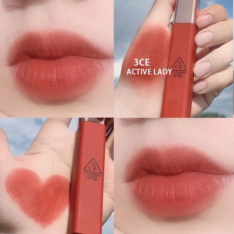 口紅韓國3ce唇釉啞光絲絨云朵霧面 不拔干持久磚紅色鐵銹紅爛番茄口紅