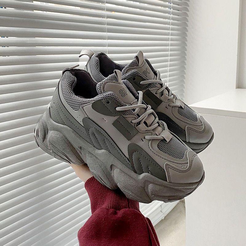 热卖新款老爹鞋女ins潮2021年新款女鞋春季学生韩版百搭厚底显脚