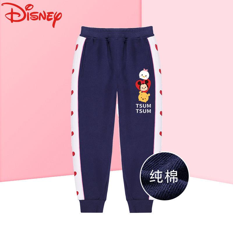 迪士尼女童裤子春秋外穿洋气新款中大童纯棉宽松运动裤时髦休闲潮