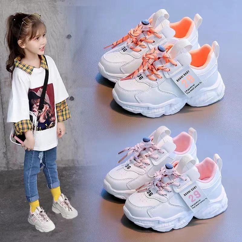 女童运动鞋儿童网红老爹鞋2021春季新款皮面小白鞋百搭男童鞋子潮