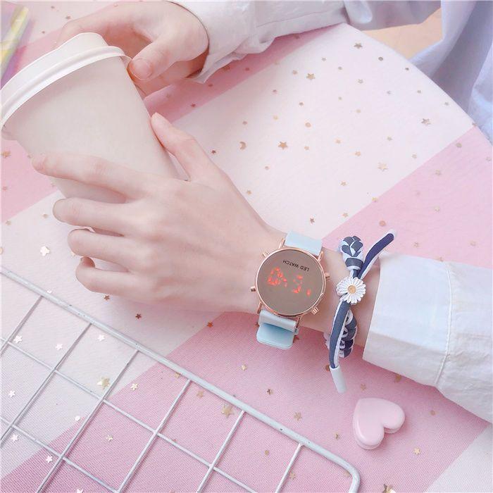 16074-手表女ins风独角兽潮流时尚女高中生韩版运动简约气质镜子电子表-详情图