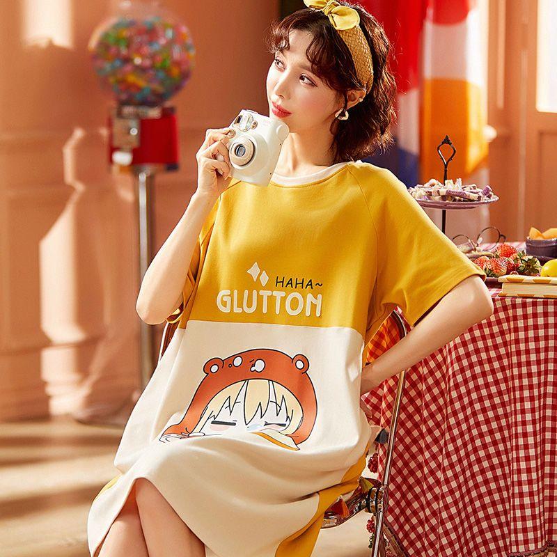 宽松时尚可外穿纯棉睡衣女夏季长款过膝全棉睡裙女学生韩版家居服