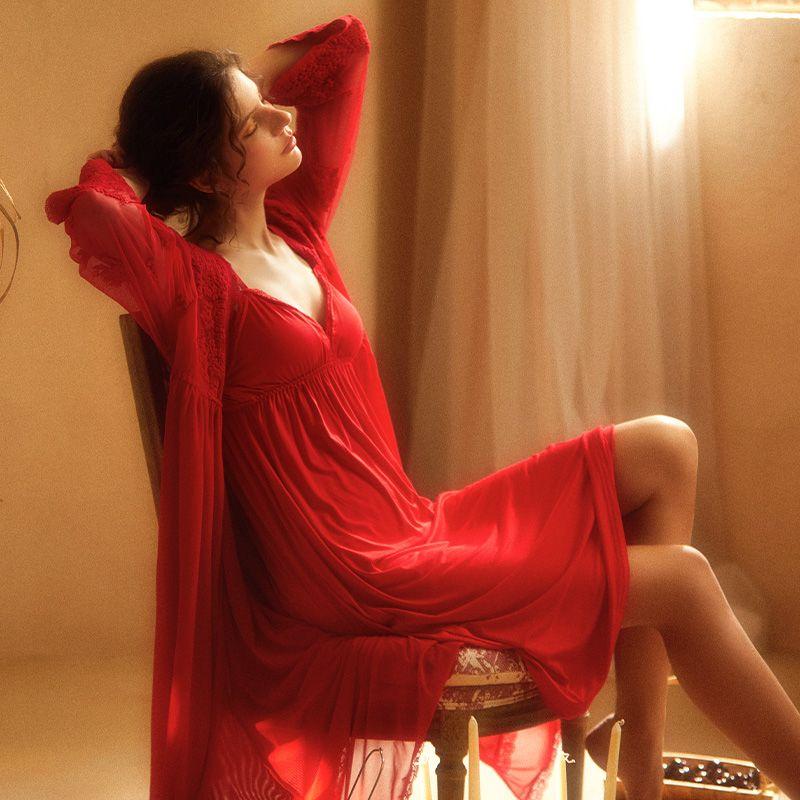 2021年新款红色本命年春秋性感吊带睡裙女夏季薄款睡衣宫廷风睡袍