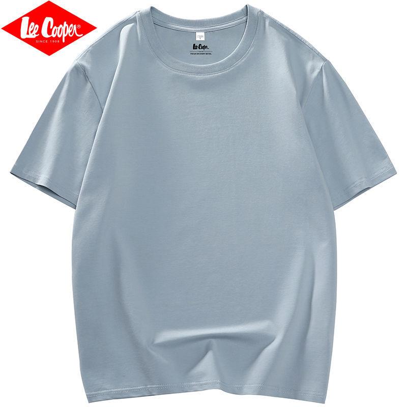 Lee Cooper短袖T恤男2021新款夏季纯色白色半袖潮流打底衫上衣服