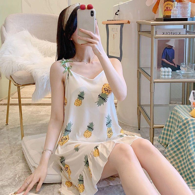 【带胸垫】睡衣女夏学生韩版可爱性感吊带睡裙夏带胸垫女款家居服