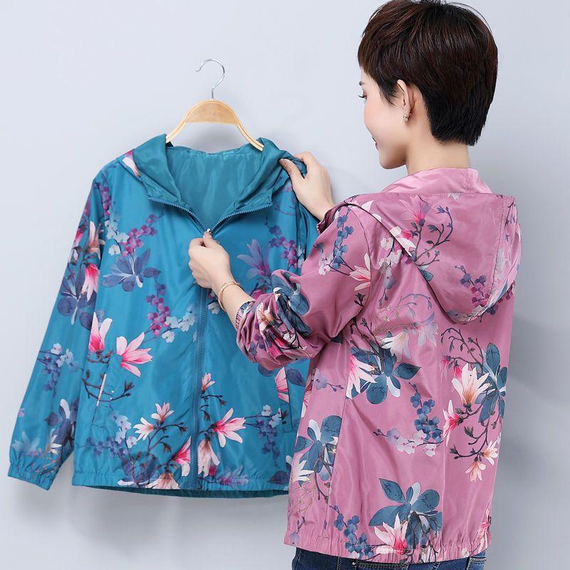 新款中老年春秋装长袖双面穿外套女休闲外衣妈妈秋季花色薄款上衣