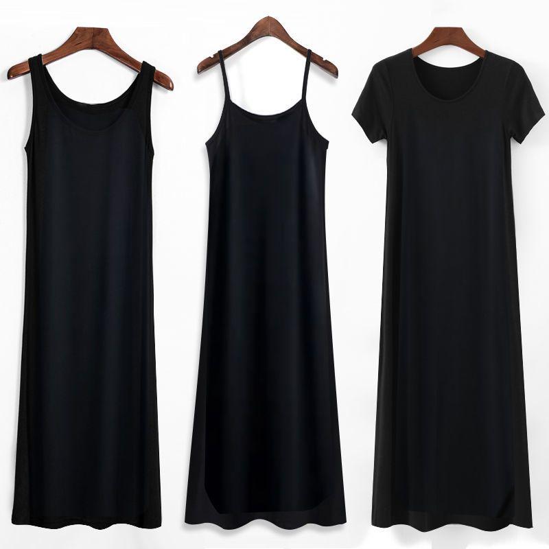 夏新款连衣裙内搭棉打底黑色背心长裙