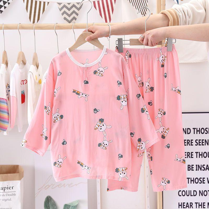 54255-夏季棉绸0-12岁儿童小孩睡衣套装男孩女童长袖长裤薄款空调服宝宝-详情图