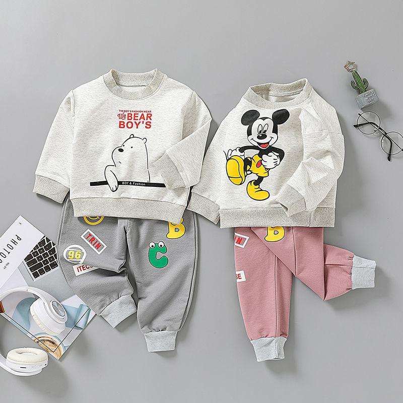 女宝宝春装套装2021新款男童1-5岁4春秋卡通两件套帅气女婴儿洋气