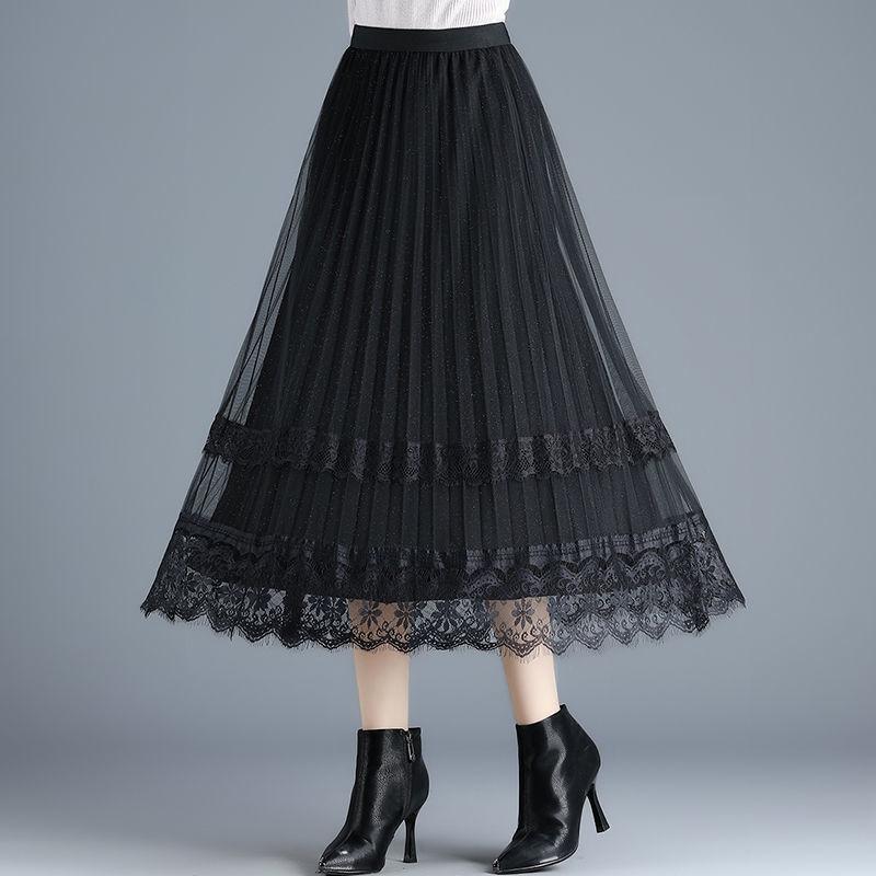 热卖新款啄木鸟蕾丝边网纱裙女夏季两面穿百褶半身裙新款中长高腰