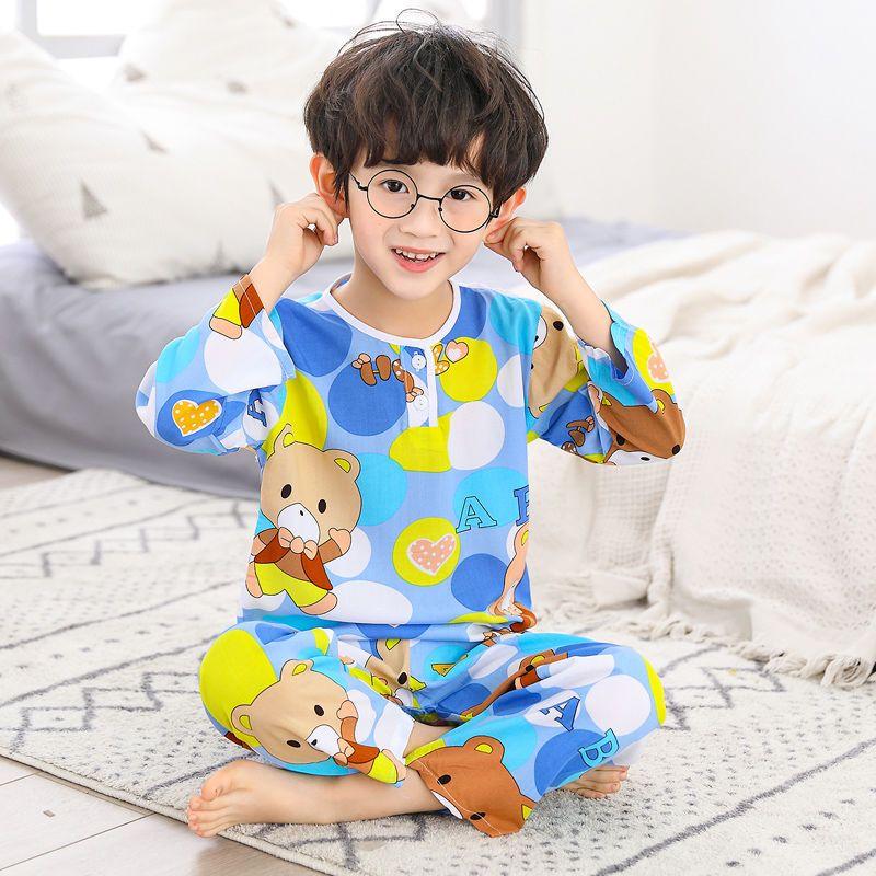 夏季儿童棉绸睡衣男童薄款长袖中大童女童绵绸家居服宝宝空调套装