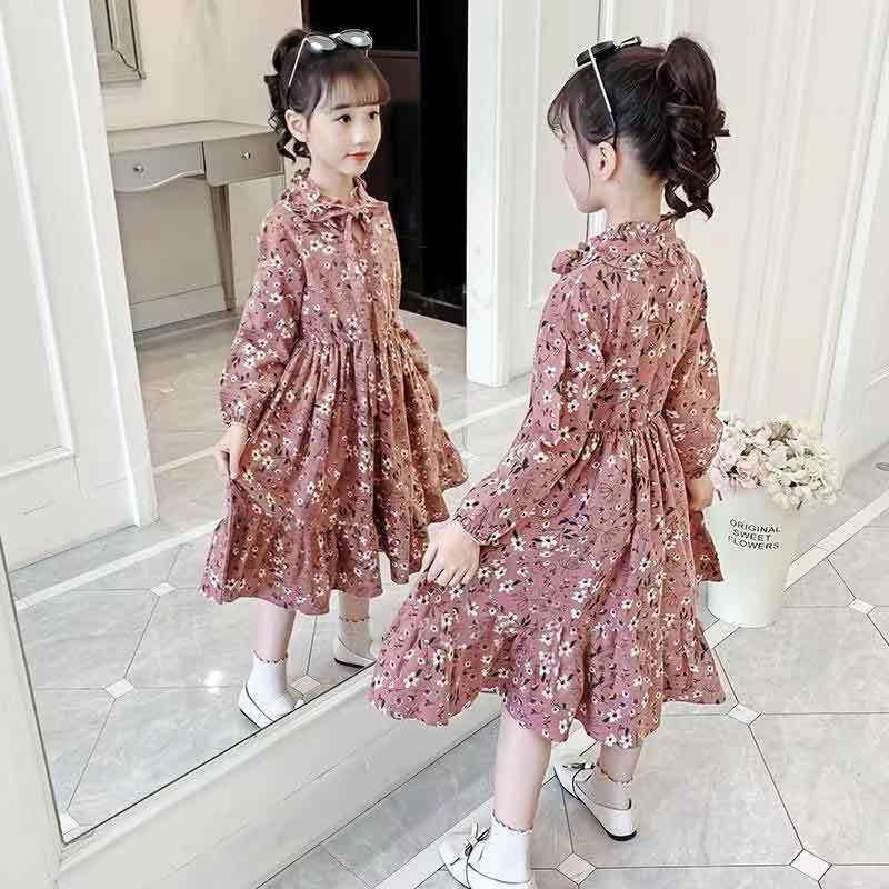 女童连衣裙2021年春季新款洋气时髦儿童长袖裙子中大童韩版公主裙