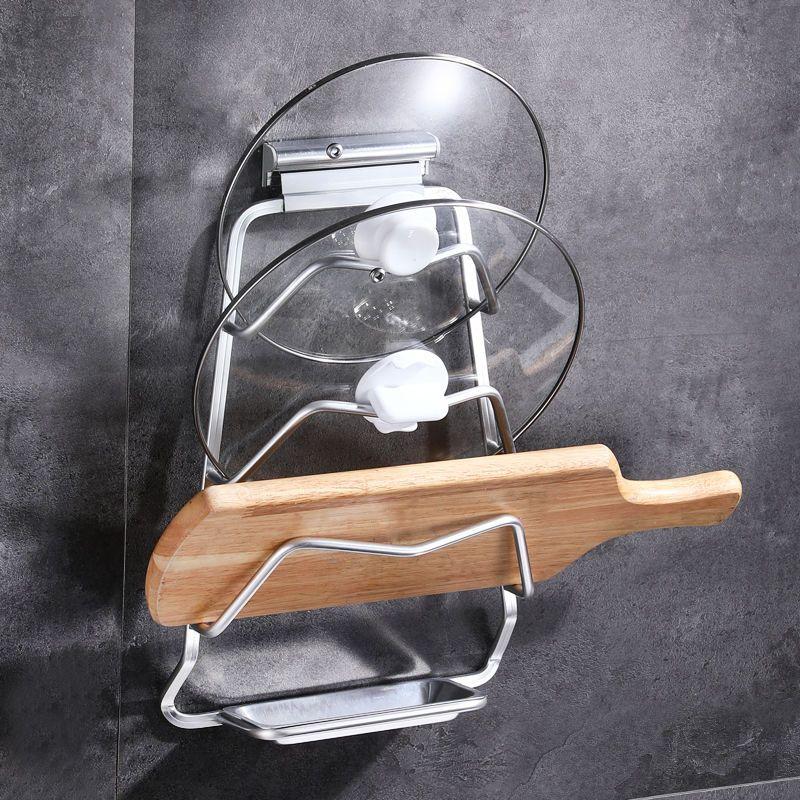免打孔锅盖架太空铝壁挂架厨房置物架锅盖收纳架砧板架墙上收纳架