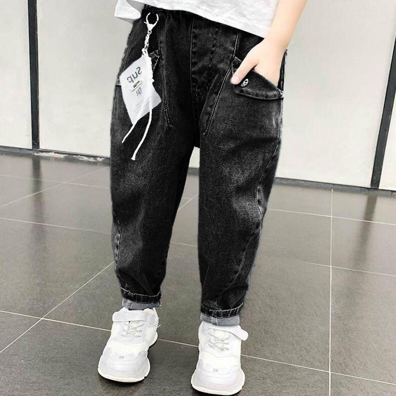 男童牛仔裤春秋款2021款儿童洋气裤子中大童韩版加绒单裤宽松长裤