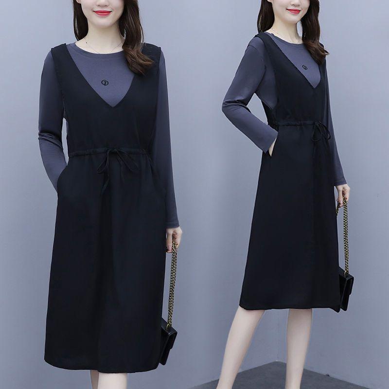 欧洲站2021春夏新款显瘦中长款背带裙