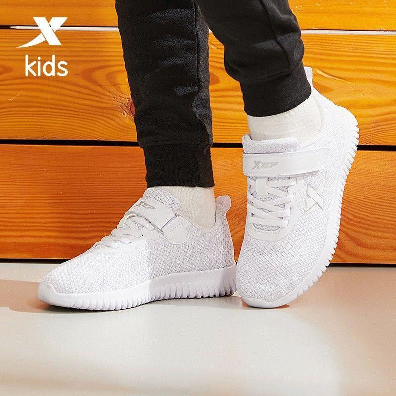 特步儿童小白鞋2021春夏新款单鞋男童透气运动鞋子板鞋男孩女孩子