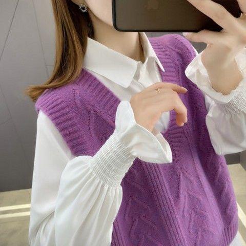 75650-2021年新款毛衣女装衬衫马甲背心两件套装针织衫春秋宽松洋气百搭-详情图