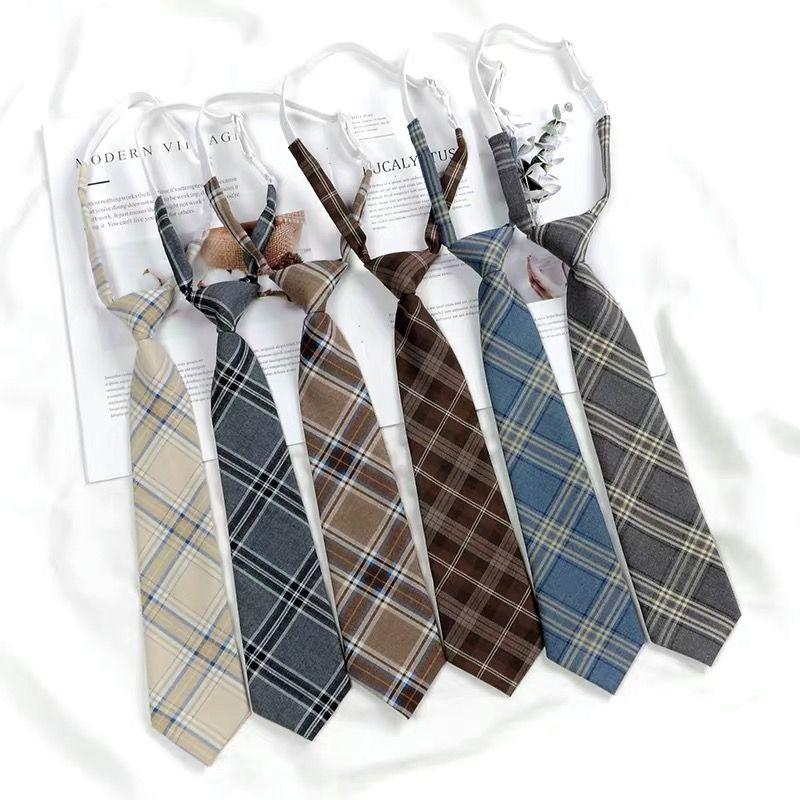 日系高中生JK/DK制服英伦学院风格子免打领带 懒人领带原宿风短款