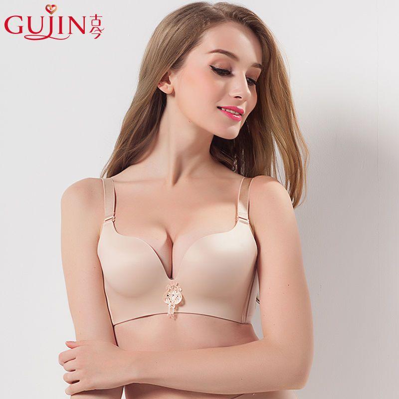 古今3/4上薄下厚无钢圈上托聚拢性感纯色光面文胸罩内衣女 0G779