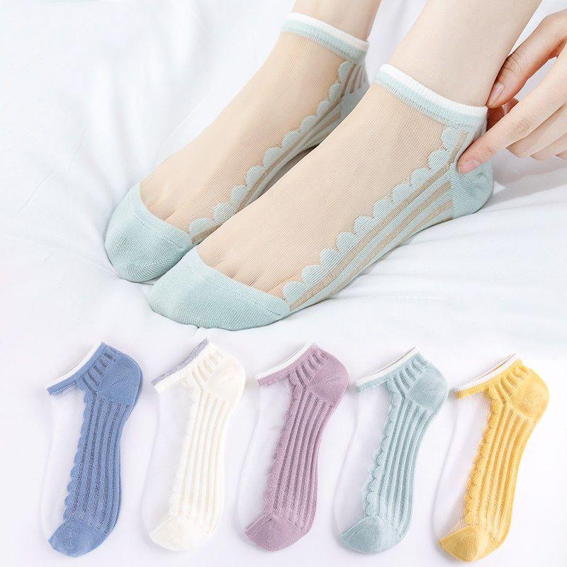玻璃丝花边袜子女短袜ins潮小雏菊春夏季薄款浅口船袜透明水晶袜