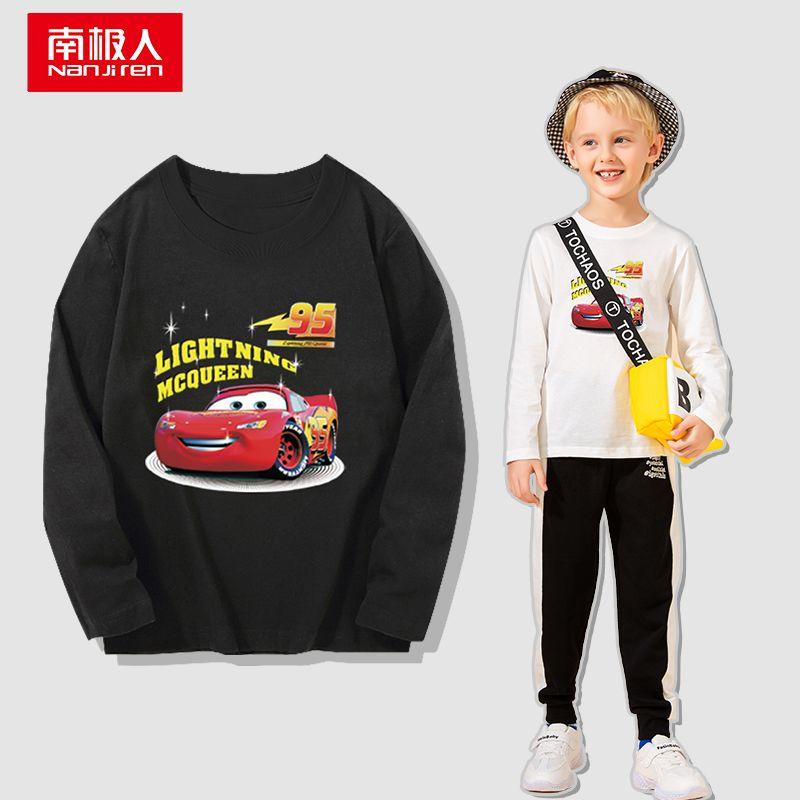 100%纯棉男童短袖T恤2021新款中大童洋气卡通印花宝宝上衣帅气t恤