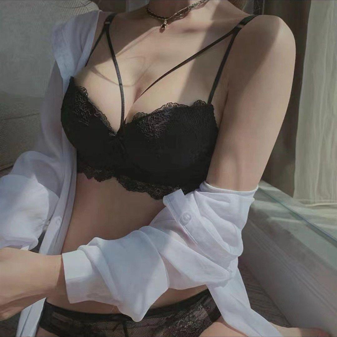 美背蕾丝内衣女小胸显大侧收聚拢记忆圈性感调整型文胸罩上托套装