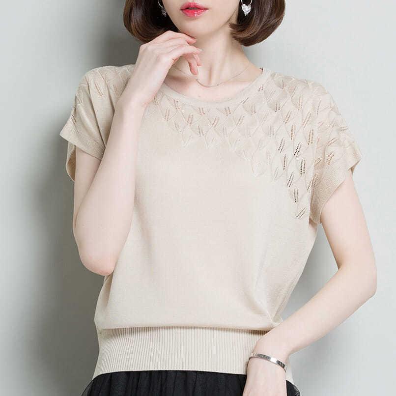 冰丝短袖T恤针织衫2021新款夏季韩版镂空蝙蝠袖宽松大码女装上衣