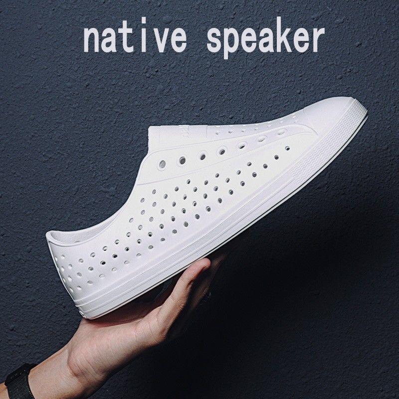 Native speaker洞洞鞋男夏季情侶防滑軟底休閑涼鞋男女鏤空沙灘鞋@XI31227