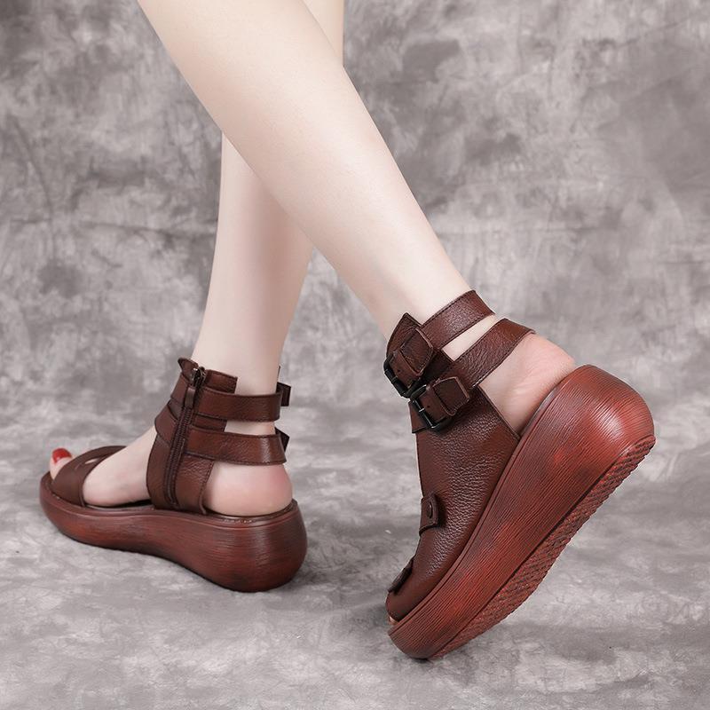 37768-鱼嘴凉鞋女夏季厚底罗马鞋软底休闲松糕鞋增高沙滩鞋女坡跟凉鞋子-详情图