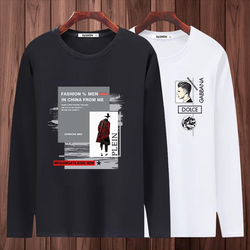 2021男士新品休闲宽松体恤春季新款男装纯棉T恤长袖衣服潮流百搭