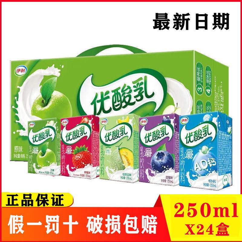 新货伊利优酸乳原味24盒装整箱草莓AD钙8盒蓝莓哈密瓜250ml乳饮料