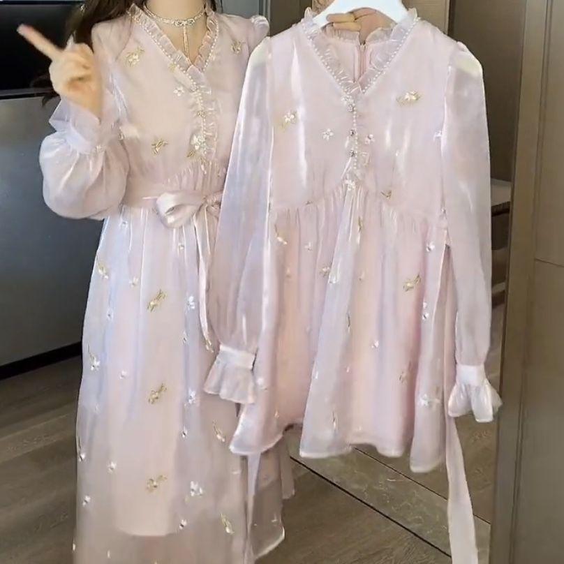 新款連衣裙長袖連衣裙新款春裝韓版甜美洋氣減齡ins超仙顯瘦在逃公主裙【3月25日發完】