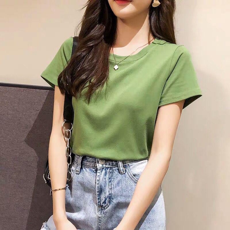 2021新款韩版夏季牛油果绿T恤